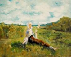 Picturi cu potrete/nuduri Fata torcand pe plai
