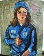 Picturi cu potrete/nuduri Portret de fata in uniforma albastra, ulei pe carton, pictor neculai milord