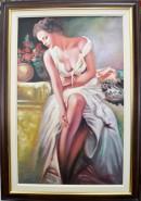 Picturi cu potrete/nuduri Femeie in alb