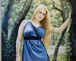 Picturi cu potrete/nuduri Blonda in parc