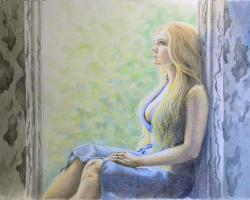 Picturi cu potrete/nuduri Blonda la geam