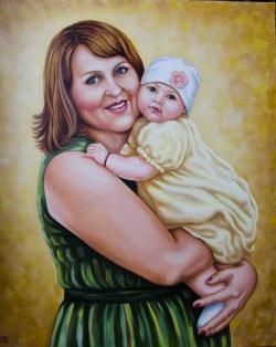 Picturi cu potrete/nuduri Bunica cu nepotica