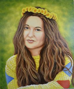 Picturi cu potrete/nuduri Fata cu coronita din papadii