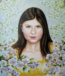 Picturi cu potrete/nuduri Fata intre flori de mar