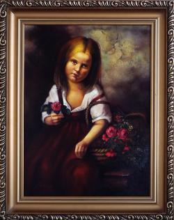 Picturi cu potrete/nuduri fetita cu flori