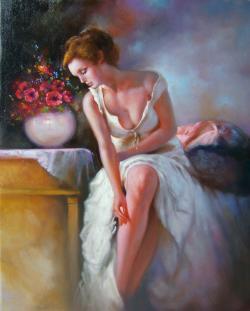 Picturi cu potrete/nuduri lumina diminetii.