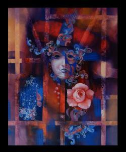 Picturi cu potrete/nuduri masca venetiana 3