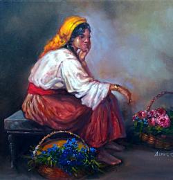 Picturi cu potrete/nuduri tiganca florareasa 1