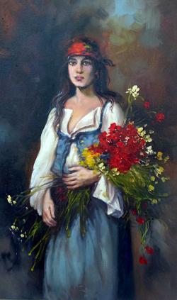 Picturi cu potrete/nuduri tiganca florareasa 6