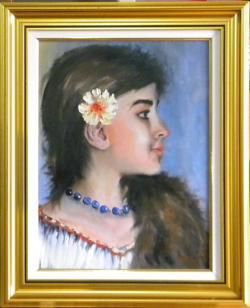 Picturi cu potrete/nuduri PROFIL DE FATA CU MARGELE