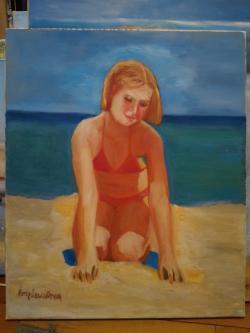 Picturi cu potrete/nuduri Fetita la mare