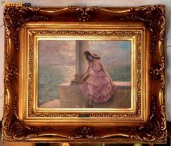 Picturi cu potrete/nuduri doamna in roz
