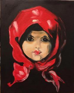 Picturi cu potrete/nuduri Fetita cu basma rosie 001