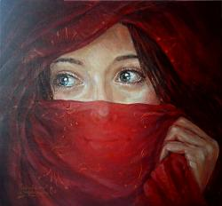 Picturi cu potrete/nuduri Voalul rosu