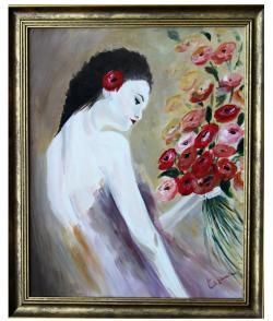Picturi cu potrete/nuduri Tanara cu flori