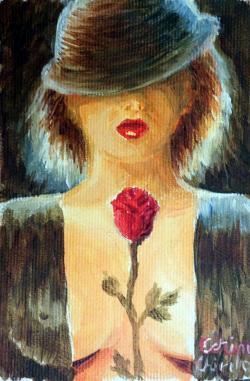 Picturi cu potrete/nuduri Misterioasa femeie cu palarie