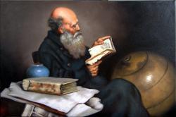 Picturi cu potrete/nuduri batran cu carte