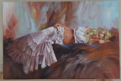 Picturi cu potrete/nuduri blonda cu crin