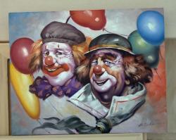 Picturi cu potrete/nuduri clovni cu baloane