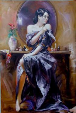 Picturi cu potrete/nuduri dama in negru