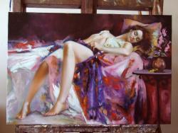 Picturi cu potrete/nuduri  fata odihnindu-se