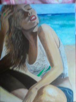 Picturi cu potrete/nuduri fata la mare