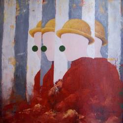 Picturi cu potrete/nuduri Arlechin in oglinda
