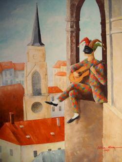 Picturi cu potrete/nuduri Arlechinul din turn