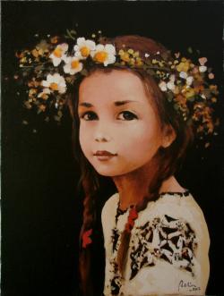 Picturi cu potrete/nuduri Coronita cu flori de camp