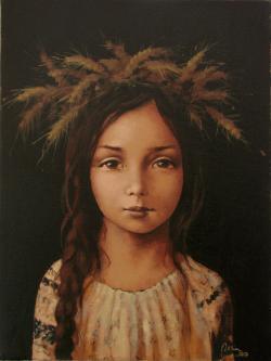 Picturi cu potrete/nuduri Fata cu coada impletita