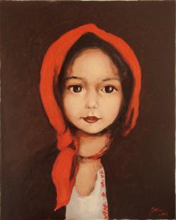 Picturi cu potrete/nuduri tarancuta cu naframa rosie