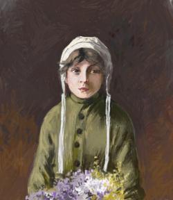 Picturi cu potrete/nuduri fetita cu flori 5