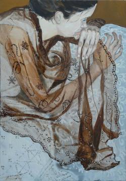 Picturi cu potrete/nuduri Fata cu voal