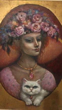 Picturi cu potrete/nuduri dama cu pisica