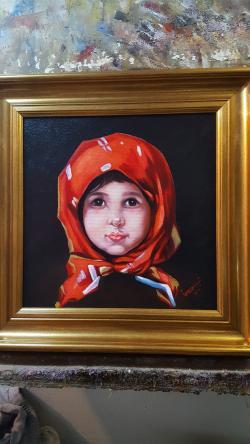 Picturi cu potrete/nuduri fata cu batic