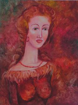 Picturi cu potrete/nuduri Fata in rosu