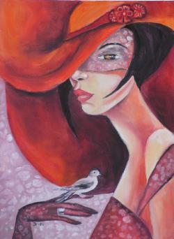 Picturi cu potrete/nuduri Femeie cu Bird