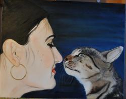 Picturi cu potrete/nuduri Ea si pisica