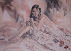 Picturi cu potrete/nuduri Fata cu trandafir