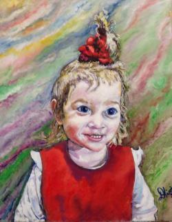 Picturi cu potrete/nuduri Fetita cu fantanita in par
