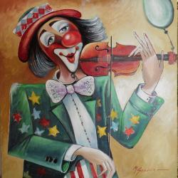 Picturi cu potrete/nuduri arlechin cu vioara