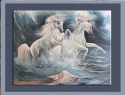 Picturi cu animale cai in valurile marii inspumate--33