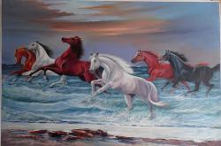 Picturi cu animale cai in spuma marii----kk33