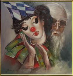 Picturi cu potrete/nuduri clown--cum am fost si cum sunt