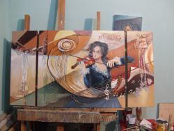 Picturi cu potrete/nuduri sunet pe note muzicale