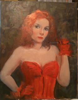 Picturi cu potrete/nuduri Corsetul roșu