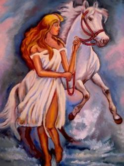 Picturi cu potrete/nuduri Fata cu calul