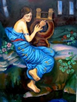Picturi cu potrete/nuduri Fata cu lira01