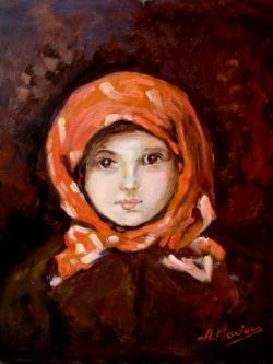 Picturi cu potrete/nuduri Fetita cu basmaua rosie