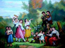 Picturi cu potrete/nuduri Serbare campeneasca